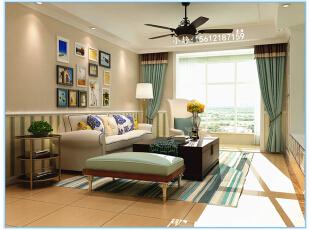 ,108平,4万,田园,三居,客厅,原木色,绿色,白色,黄色,