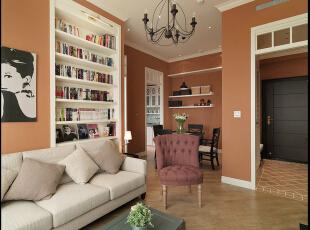 ,61平,4万,现代,公寓,客厅,橙色,白色,