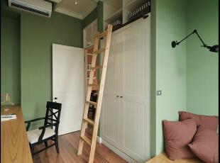 ,61平,4万,现代,公寓,书房,白色,绿色,