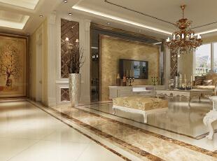 欧式古典风格,最擅于运用金色和银色以呈现居室的气派与复古韵味。 客厅内的其他家具,大多有花纹、雕饰,尤其是有花及树木等图案装饰,线条优美。由于选用的家具极为奢华古典,为了与整体空间相搭配,屋主也选用了华丽的窗帘、相搭配的挂画、绣布装饰。,153平,18万,欧式,四居,客厅,黄白,