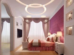 ,370平,75万,现代,别墅,粉色,卧室,儿童房,