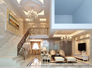 ,420平,75万,欧式,别墅,客厅,餐厅,黄色,