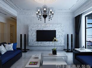 中豪汇景湾装修案例电视背景墙,天然大理石做铺垫,独特的表现力。,158平,12万,欧式,三居,客厅,黑白,
