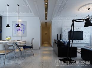 中豪汇景湾装修案例简欧风格效果图,过道,158平,12万,欧式,三居,客厅,黑白,