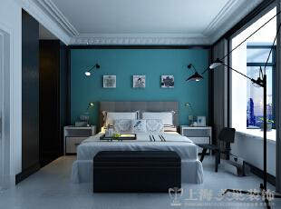 中豪汇景湾装修案例三室两厅卧室效果图,如果您看惯了城市繁杂,那就什么都不想的放心休息吧,158平,12万,欧式,三居,卧室,白蓝,
