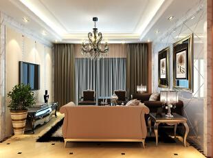 【南昌实创整体家装】欧式风格客厅效果图,88平,10万,欧式,两居,客厅,黄白,
