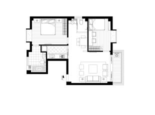 【南昌实创整体家装】欧式风格平面图,88平,10万,欧式,两居,