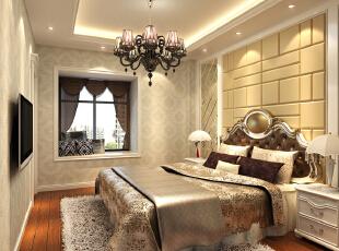 【南昌实创整体家装】欧式风格卧室效果图,88平,10万,欧式,两居,卧室,黄色,