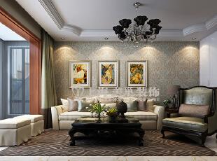 贰号城邦89平现代简欧客厅装修效果图,89平,10万,欧式,两居,客厅,春色,