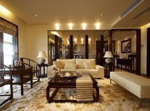 ,216平,56万,中式,三居,客厅,褐色,黄白,