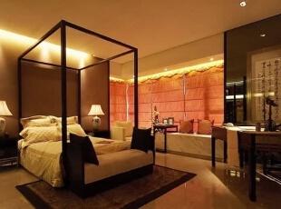 ,216平,56万,中式,三居,卧室,棕色,黄白,