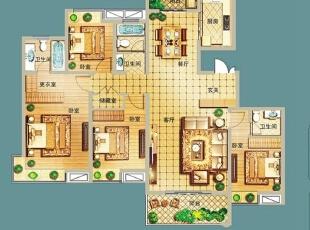 ,150平,20万,中式,四居,玄关,客厅,餐厅,卧室,厨房,书房,儿童房,卫生间,阳台,