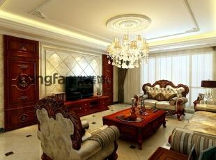 客厅:客厅整体干净明亮,米黄色的壁纸,使客厅看起来更加开阔。沙发大气中透漏着些许的奢华,电视墙的壁纸采用深色进行装饰,与整体的浅色调形成对比,增加了视觉的冲击感。玄关处的设计采用马赛克造型,使空间看起来更有立体感。门厅处的走廊和吊顶上下呼应,玄关处的地板的祥云图案凸显了主人的品味。 餐厅:餐厅的布置很讲究,不在是餐桌和餐椅的搭配。纱帘、红酒柜、红酒……在这样唯美和浪漫的气氛中用餐,真是一种享受。 主卧室:卧室空间是男女主人最个人化的地方,需要更多的自由空间来营造二人世界,对灯光的控制在这可以很好的调节气氛。主卧室的装饰也是以后现代注意为主,遵循业主的要求,米黄色的壁纸、米黄色的床体配以棕色的背景墙,让温馨的卧室显得更加细致,有品位。,232平,15万,欧式,四居,客厅,米黄色,