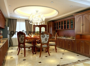 客厅:客厅整体干净明亮,米黄色的壁纸,使客厅看起来更加开阔。沙发大气中透漏着些许的奢华,电视墙的壁纸采用深色进行装饰,与整体的浅色调形成对比,增加了视觉的冲击感。玄关处的设计采用马赛克造型,使空间看起来更有立体感。门厅处的走廊和吊顶上下呼应,玄关处的地板的祥云图案凸显了主人的品味。 餐厅:餐厅的布置很讲究,不在是餐桌和餐椅的搭配。纱帘、红酒柜、红酒……在这样唯美和浪漫的气氛中用餐,真是一种享受。,232平,15万,欧式,四居,餐厅,原木色,米黄色,