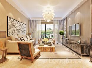 ,128平,4万,现代,三居,客厅,餐厅,原木色,黄色,