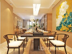 ,128平,4万,现代,三居,餐厅,客厅,原木色,黄色,