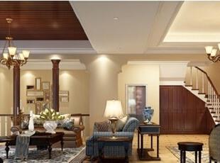 起居室较客厅空间低矮平和,采用舒适柔和的布艺沙发,搭配自然材质的木质书柜,电视、书桌等用品摆放于同一空间中,有效地建立起一种温情暖意的家庭氛围。,550.0平,72.0万,美式,别墅,客厅,褐色,米黄色,