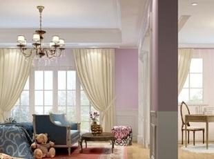 女儿房的格局和主卧很相似,色调上却是以粉嫩的红色和蓝色为主,繁复的花卉植物图案装饰,带来清新的自然田园气息。,550.0平,72.0万,美式,别墅,儿童房,粉红色,蓝色,