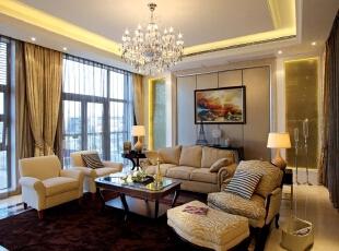 欧式风格客厅,世贸维拉欧式风格,别墅装修设计,别墅装修风格,北京别墅装修,北京室内设计,客厅,棕色,黄白,