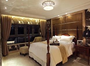 欧式风格老人房,欧式风格别墅,北京别墅装修设计,别墅装修设计,别墅装修风格,北京室内设计,卧室,棕色,白色,