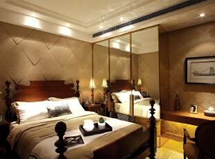 欧式风格主人房,欧式风格案例,北京别墅装修设计,别墅装修风格,别墅装修设计,北京室内设计,卧室,黄白,