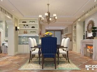 餐厅的采用的石膏板勾缝吊顶,使空间更有层次感,加上风格独特的吊顶以及家具,使整个用餐环境明亮且能增加食欲。,123平,9万,田园,三居,餐厅,黄白,