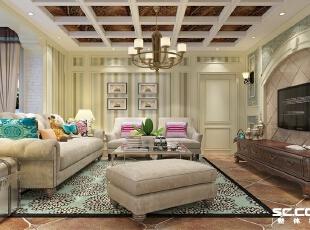 典雅的英式乡村风格,细腻而统一的色 调、华丽又低调的图案,使整个空间显得浪漫温馨且自然,充满了浓郁的生活 气息。,123平,9万,田园,三居,客厅,春色,黄白,