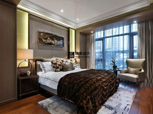 海马壹号公馆246平方五室两厅现代简约装修效果图 卧室,246平,17万,现代,四居,卧室,
