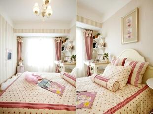 白色皮毛地毯及芭蕾裙使房间的公主气更加浓郁。,120平,17万,欧式,三居,卧室,粉红色,