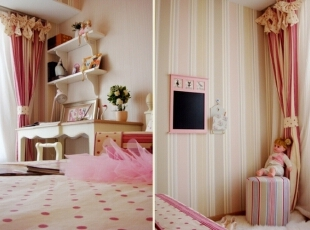米色与粉色相间的条纹图案及米底深粉色波点图案布艺相搭配的窗帘及床品,使整个空间色调在统一中有跳跃,色彩层次更加丰富。,120平,17万,欧式,三居,卧室,粉红色,