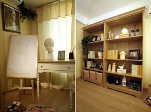 书柜选用橡木色漆面效果,使整个空间沉稳大气。,120平,17万,欧式,三居,书房,黄白,