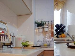厨房空间生活气息浓郁,台面上的餐具厨具,以及蔬菜水果的摆放,都能反映出居家生活的美妙。,120平,17万,欧式,三居,厨房,棕色,白色,