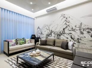 墨色或浓或淡,画面或虚或实,在极简的画风中生动复刻了富春江的风华,也呈现屋主宁静致远的情怀。,98平,中式,两居,客厅,白色,