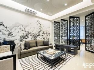 营造进退得宜的空间区隔,在客、餐厅之间利用四片玻璃门片,在开放与独立之间创造出变化性。,中式,两居,客厅,黑白,