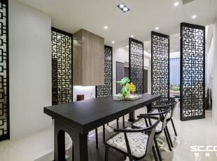 屏风的造型上以古典窗稜线条呈现,并经过安藤设计重新演绎之后,以花开富贵的意象、现代感的材质来呈现。,98平,13万,中式,两居,餐厅,原木色,黑白,