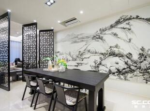 客餐厅的家具都是由安藤设计替屋主量身订制的,造型上结合了古典元素以及现代线条。,98平,13万,中式,两居,餐厅,原木色,黑白,