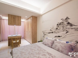 床头同样以富春山居来表现设计主题,并撷取了最平缓沉静的角落,呈现洒脱纵逸与平淡天真的风情。,98平,13万,中式,两居,卧室,原木色,白色,