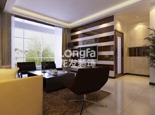 石家庄卓达上河原著98㎡户型现代简约风格效果图案例,98平,4万,现代,两居,客厅,棕色,黄白,