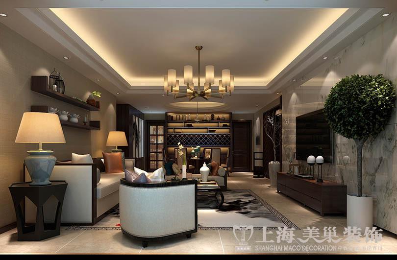 正商铂钻140平装修新中式三室两厅效果图案例