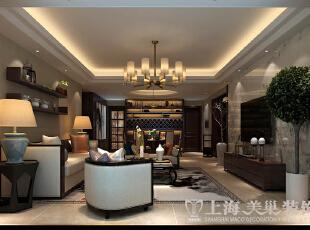正商铂钻140平装修新中式三室两厅效果图案例——客餐厅布局效果图,89平,8万,中式,三居,客厅,棕色,黄白,