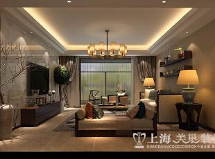 正商铂钻140平装修新中式三室两厅效果图案例——客厅全景效果图,89平,8万,中式,三居,客厅,棕色,黄白,