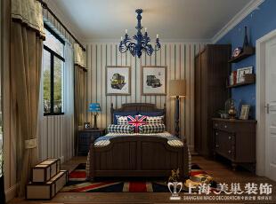 正商铂钻140平装修新中式三室两厅效果图案例——儿童房效果图,89平,8万,中式,三居,卧室,白蓝,