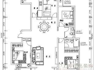 正商铂钻140平装修新中式三室两厅效果图案例平面图——美巢装饰,89平,8万,中式,三居,
