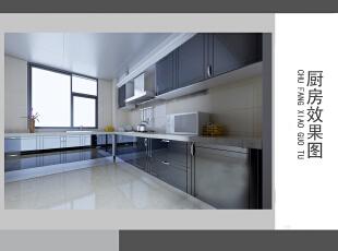 ,125平,12万,现代,三居,厨房,黑白,