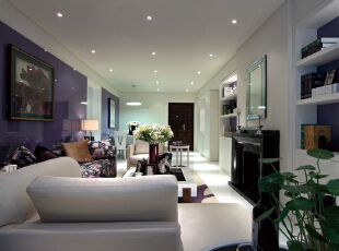,192平,38万,现代,四居,客厅,紫色,白色,