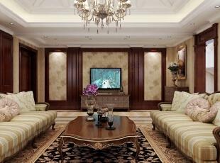 ,420平,20万,新古典,别墅,客厅,原木色,黄白,