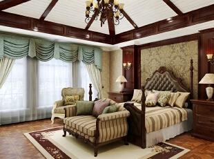 ,420平,20万,新古典,别墅,卧室,黄白,原木色,