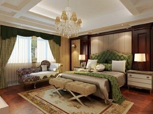 ,420平,20万,新古典,别墅,卧室,黄白,绿色,原木色,
