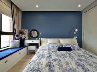 ,80平,16万,美式,三居,卧室,白蓝,