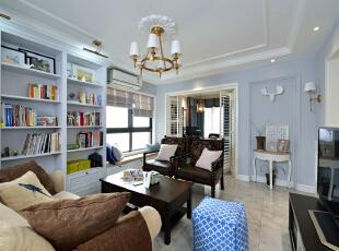,80平,16万,美式,三居,客厅,淡紫色,白色,